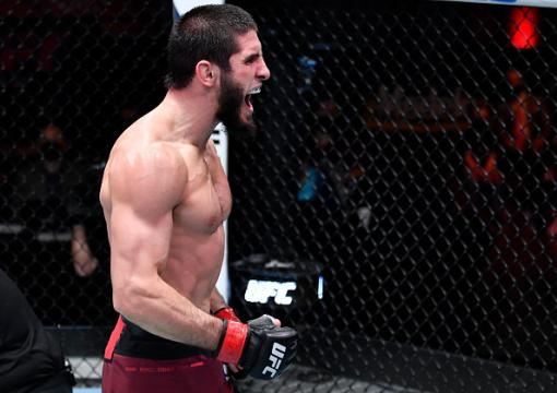 Islam Makhachev reacts after his submission victory over Drew Dober in their lightweight fight during the UFC 259 event at UFC APEX on March 06, 2021 in Las Vegas, Nevada. (Photo by Jeff Bottari/Zuffa LLC)