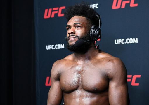 Aljamain Sterling is interviewed after his disqualification victory over Petr Yan of Russia in their UFC bantamweight championship fight during the UFC 259 event at UFC APEX on March 06, 2021 in Las Vegas, Nevada. (Photo by Chris Unger/Zuffa LLC)