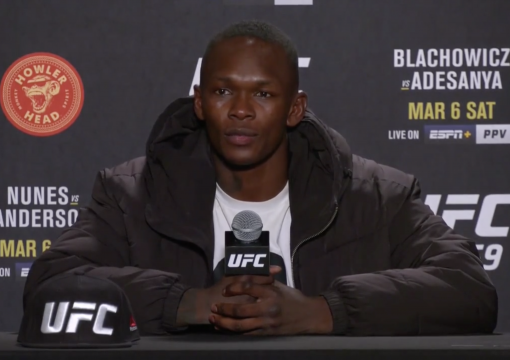 UFC Middleweight Champion Israel Adesanya Participates in a Post-fight Press Conference after His Loss In The Light Heavyweight Title Fight at UFC 259 on March 6, 2021.