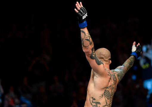 Anthony Smith celebrates after his TKO victory over Mauricio Rua of Brazil in their light heavyweight bout during the UFC Fight Night at Barclaycard Arena on July 22, 2018 in Hamburg, Germany. (Photo by Jeff Bottari/Zuffa LLC/Zuffa LLC via Getty Images)