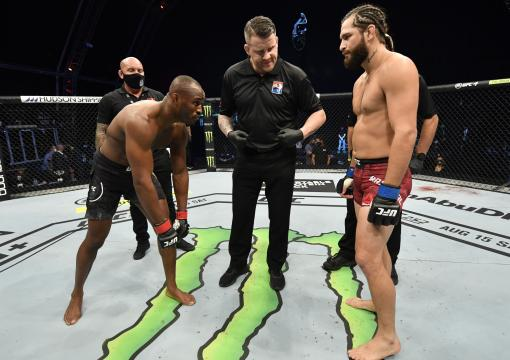 Kamaru Usman of Nigeria and Jorge Masvidal face off prior to their UFC welterweight championship fight during the UFC 251 event at Flash Forum on UFC Fight Island on July 12, 2020 on Yas Island, Abu Dhabi, United Arab Emirates. (Photo by Jeff Bottari/Zuffa LLC)