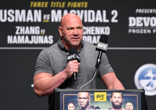 UFC President Dana White interacts with media during the UFC 261 press conference at VyStar Veterans Memorial Arena on April 22, 2021 in Jacksonville, Florida. (Photo by Josh Hedges/Zuffa LLC)