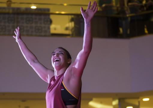 UFC women's strawweight contender Mackenzie Dern of the United States holds an open training session at Barra Shopping Mall on May 9, 2018 in Rio de Janeiro, Brazil. (Photo by Bruna Prado/Zuffa LLC via Getty Images)