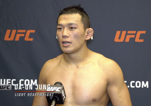 Da-un Jung reacts with UFC.com after his unanimous decision victory over UFC light heavyweight William Knight at UFC Fight Night: Vettori vs Holland on April 10, 2021.