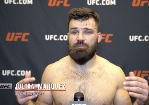 Julian Marquez reacts with UFC.com after his second-round submission victory over middleweight Sam Alvey at UFC Fight Night: Vettori vs Hollandon April 10, 2021.