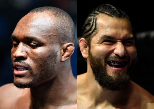 Colagem de fotos de Kamaru Usman e Jorge Masvidal antes do duelo no UFC 258.