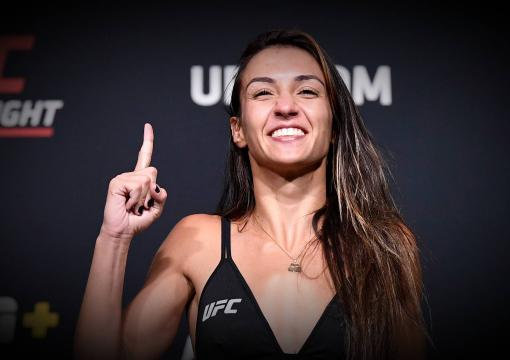 Amanda Ribas of Brazil poses on the scale during the UFC weigh-in at UFC APEX on May 07, 2021 in Las Vegas, Nevada. (Photo by Chris Unger/Zuffa LLC)