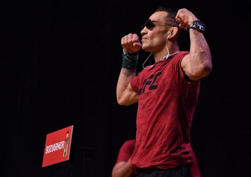 Tony Ferguson poses on the scale during the UFC 229 weigh-in inside T-Mobile Arena on October 5, 2018 in Las Vegas, Nevada. (Photo by Brandon Magnus/Zuffa LLC/Zuffa LLC via Getty Images)