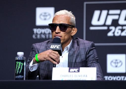 Charles Oliveira interacts with media during the UFC 262 press conference at George R. Brown Convention Center on May 13, 2021 in Houston, Texas. (Photo by Josh Hedges/Zuffa LLC)