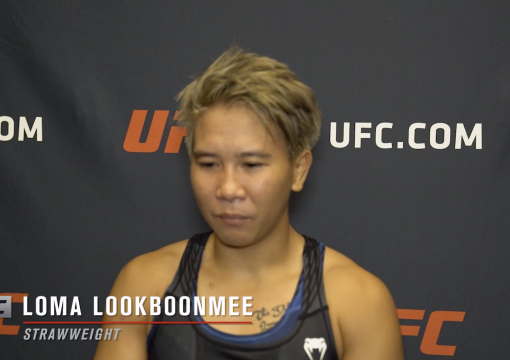 Loma Lookboonmee reacts with UFC.com after her unanimous decision victory over UFC strawweight Sam Hughes at UFC Fight Night: Reyes vs Prochazka on May 1, 2021.