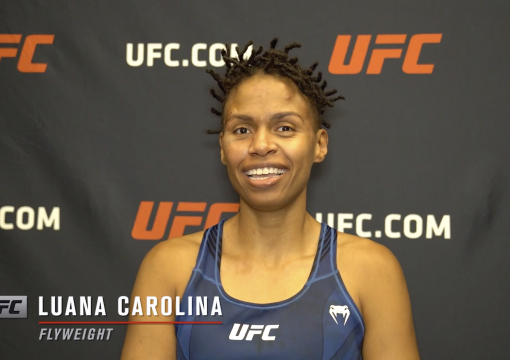 Luana Carolina reacts with UFC.com after her split decision victory over UFC flyweight Poliana Botelho at UFC Fight Night: Reyes vs Prochazka on May 1, 2021.