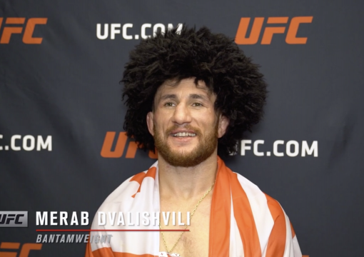 Merab Dvalishvili reacts with UFC.com after his unanimous decision victory over UFC bantamweight Cody Stamann at UFC Fight Night: Reyes vs Prochazka on May 1, 2021.