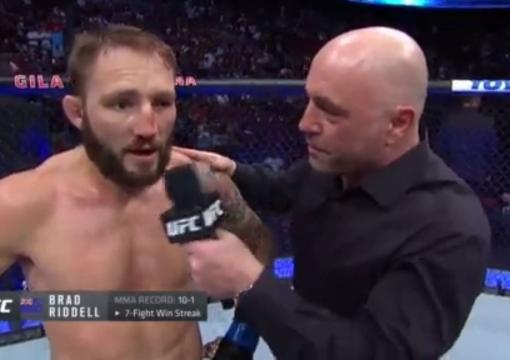 Watch Brad Riddell's Octagon With Joe Rogan After His Victory Against Drew Dober At UFC 263