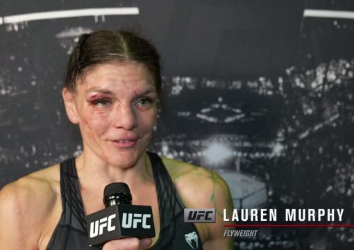 Lauren Murphy reacts withUFC.comafter hersplit decisionvictory over flyweight Joanne Calderwoodat UFC 263: Adesanya vs Vettori 2 on June 12, 2021