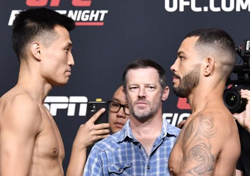 'The Korean Zombie' Chan Sung Jung of South Korea and Dan Ige face off during the UFC weigh-in at UFC APEX on June 18, 2021 in Las Vegas, Nevada. (Photo by Chris Unger/Zuffa LLC)