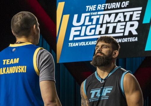 Andre Petroski and Aaron Phillips faceoff on episode one of The Ultimate Fighter Season 29 (photo by Chris Unger/Zuffa LLC)