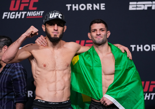 Islam Makhachev and Thiago Moises of Brazil pose for media during the UFC weigh-in at UFC APEX on June 25, 2021 in Las Vegas, Nevada. (Photo by Jeff Bottari/Zuffa LLC)