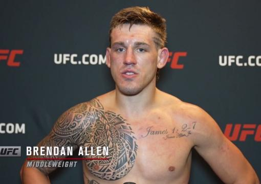 Brendan Allen reacts with UFC.com after his unanimous decisionvictory over middleweight Punahele Soriano at UFC Fight Night: Sandhagen vs Dillashaw on July 24 2021