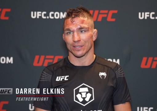Darren Elkinsreacts withUFC.comafter his TKO victory over featherweight Darrick Minnerat UFC Fight Night: Sandhagen vs Dillashaw on July 24 2021.
