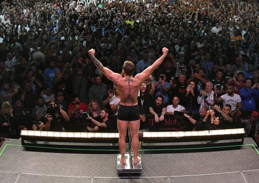 Conor McGregor of Ireland poses on the scale during the UFC 229 weigh-in inside T-Mobile Arena on October 5, 2018 in Las Vegas, Nevada. (Photo by Josh Hedges/Zuffa LLC/Zuffa LLC via Getty Images)
