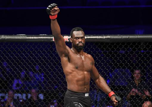 Uriah Hall of Jamaica celebrates his KO victory over Bevon Lewis in their middleweight bout during the UFC 232 event inside The Forum on December 29 2018 in Inglewood California (Photo by Josh Hedges Zuffa LLC/)