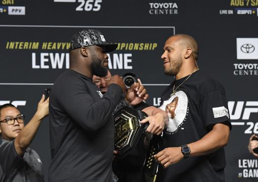 Derrick Lewis and Ciryl Gane of France face off during the UFC 265 press conference at at Toyota Center on August 05, 2021 in Houston, Texas. (Photo by Josh Hedges/Zuffa LLC)