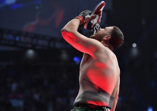 Tai Tuivasa of Australia reacts after knocking out Greg Hardy in their heavyweight fight during the UFC 264 event at T-Mobile Arena on July 10, 2021 in Las Vegas, Nevada. (Photo by Chris Unger/Zuffa LLC)
