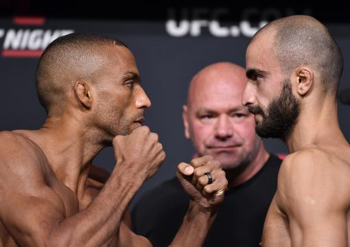 Edson Barboza of Brazil and Giga Chikadze of Georgia face off during the UFC Fight Night weigh-in at UFC APEX on August 27 2021 in Las Vegas Nevada. (Photo by Chris Unger/Zuffa LLC)