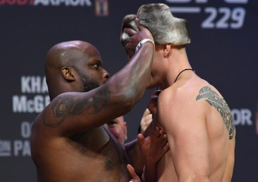 Derrick Lewis and Alexander Volkov of Russia face off during the UFC 229 weigh-in inside T-Mobile Arena on October 5, 2018 in Las Vegas, Nevada. (Photo by Josh Hedges/Zuffa LLC)