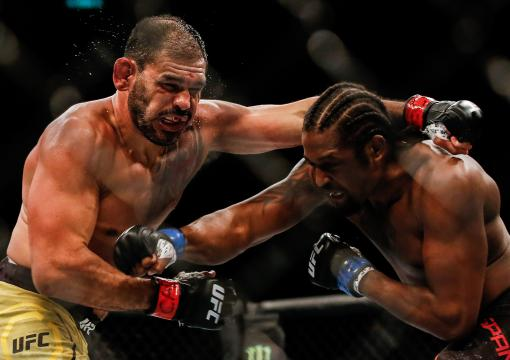 Antonio Rogerio Nogueira of Brazil and Ryan Spann trade punches in their light heavyweight bout during the UFC 237 event at Jeunesse Arena on May 11 2019 in Rio de Janeiro Brazil (Photo by Alexandre Schneider/Getty Images)