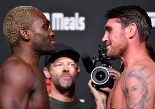 Encarada entre Derek Brunson e Darren Till na pesagem do UFC Vegas 36