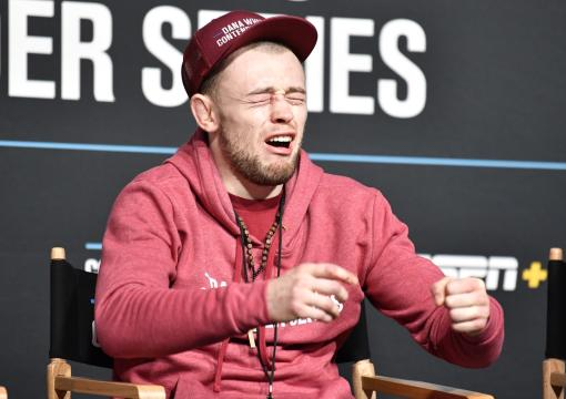 Jake Hadley reacts after being awarded a UFC contract during Dana White's Contender Series season five week seven at UFC APEX on October 12 2021 in Las Vegas Nevada. (Photo by Chris Unger/Zuffa LLC)