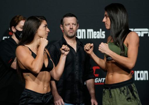 Encarada entre Mackenzie Dern e Marina Rodriguez na pesagem do UFC Vegas 39