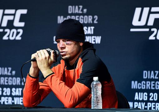 LAS VEGAS, NV - AUGUST 20:  Nate Diaz speaks to the media during the UFC 202 news conference at T-Mobile Arena on August 20, 2016 in Las Vegas, Nevada. (Photo by Jeff Bottari/Zuffa LLC/Zuffa LLC via Getty Images)