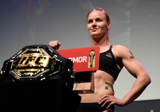 Valentina Shevchenko of Kyrgyzstan poses on the scale during the UFC 247 ceremonial weigh-in at the Toyota Center on February 7 2020 in Houston TX (Photo by Mike Roach/Zuffa LLCs)