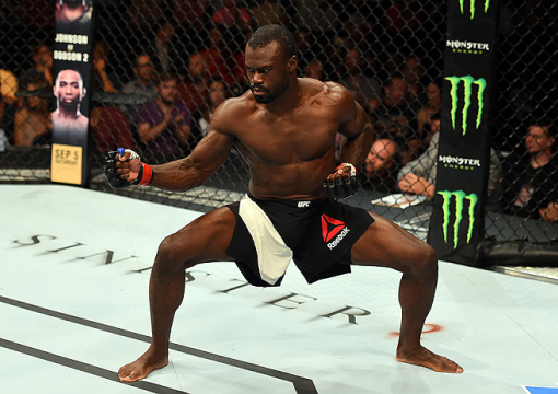 NASHVILLE TNUriah Hall of Jamaica celebrates after finishing Oluwale Bamgbose by TKO in their middleweight bout during the UFC Fight Night event at Bridgestone Arena on August 8 2015 in Nashville Tennessee  (Photo by Josh Hedges)