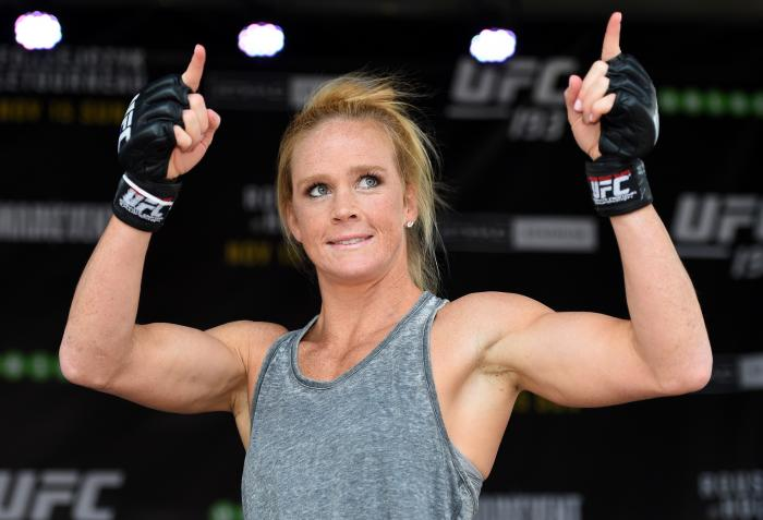 MELBOURNE, AUSTRALIA - NOVEMBER 12:  Holly Holm of the United States holds an open workout for fans and media at Federation Square on November 12, 2015 in Melbourne, Australia. (Photo by Josh Hedges/Zuffa LLC via Getty Images)