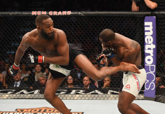 Jon Jones kicks Ovince Saint Preux in their interim UFC light heavyweight championship bout during the UFC 197 event inside MGM Grand Garden Arena on April 23, 2016 in Las Vegas, Nevada.