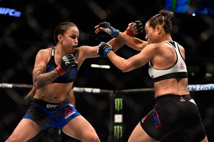 Raquel Pennington throws a punch during the UFC 202 event at T-Mobile Arena on August 20, 2016 in Las Vegas, Nevada.
