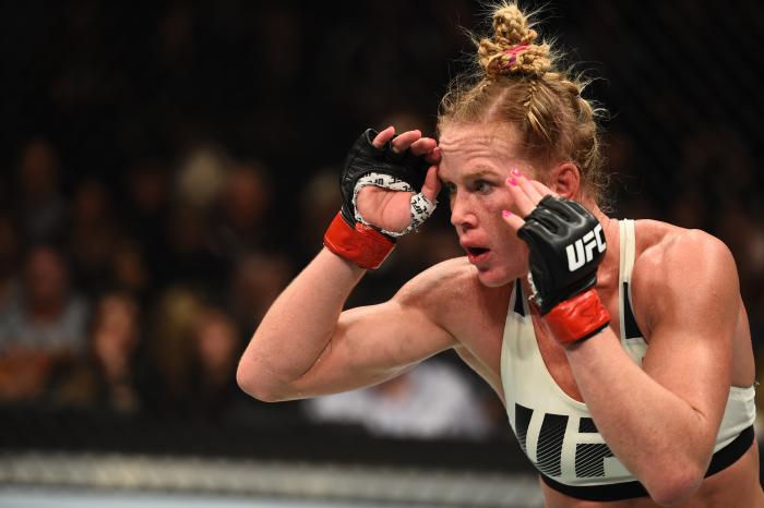 BROOKLYN, NEW YORK - FEBRUARY 11:  Holly Holm circles Germaine de Randamie of The Netherlands in their women's featherweight championship bout during the UFC 208 event inside Barclays Center on February 11, 2017 in Brooklyn, New York. (Photo by Jeff Bottari/Zuffa LLC via Getty Images)