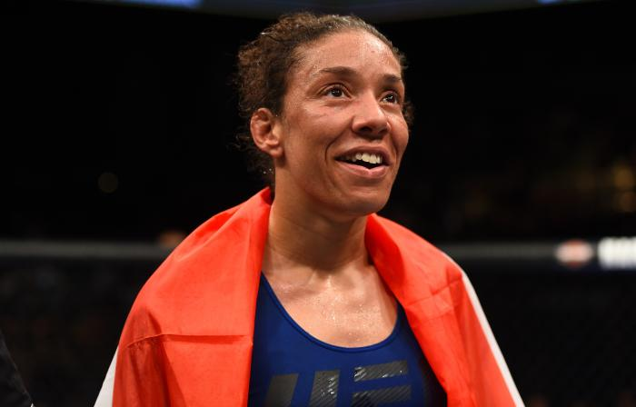BROOKLYN, NEW YORK - FEBRUARY 11:  Germaine de Randamie of The Netherlands celebrates her victory over Holly Holm in their women's featherweight championship bout during the UFC 208 event inside Barclays Center on February 11, 2017 in Brooklyn, New York. (Photo by Jeff Bottari/Zuffa LLC via Getty Images)