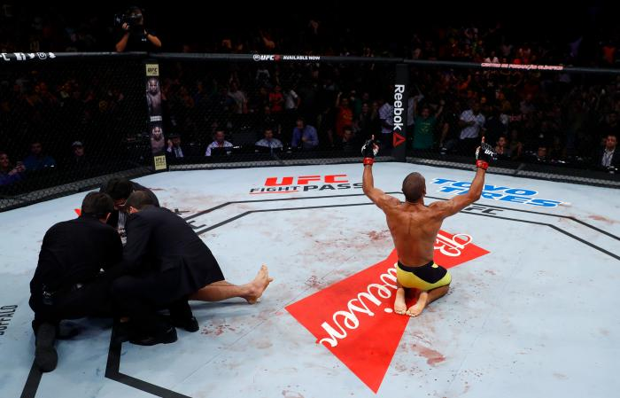 FORTALEZA, BRAZIL - MARCH 11: Edson Barboza of Brazil celebrates after his knockout victory over Beneil Dariush of Iran in their lightweight bout during the UFC Fight Night event at CFO - Centro de Formaco Olimpica on March 11, 2017 in Fortaleza, Brazil. (Photo by Buda Mendes/Zuffa LLC/Zuffa LLC via Getty Images)