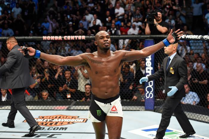 Jon Jones celebrates during the UFC 214 event at Honda Center on July 29, 2017 in Anaheim, California.