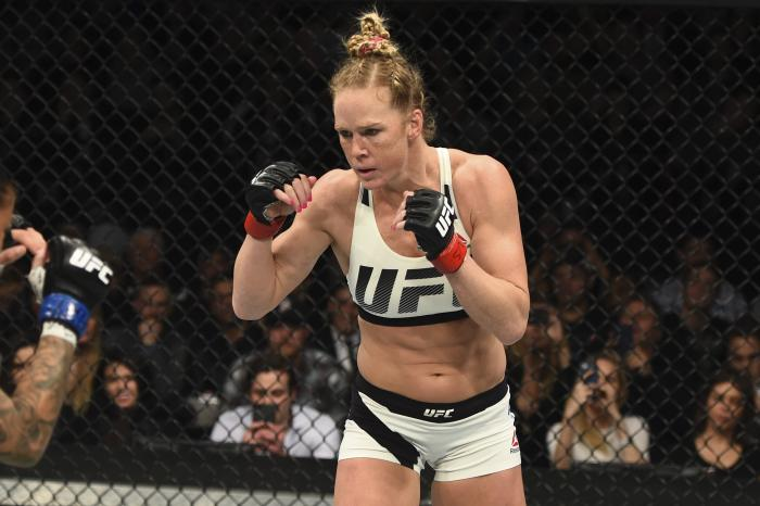BROOKLYN, NEW YORK - FEBRUARY 11:  Holly Holm faces Germaine de Randamie in their women's featherweight championship bout during the UFC 208 event inside Barclays Center on February 11, 2017 in Brooklyn, New York. (Photo by Jeff Bottari/Zuffa LLC via Getty Images)