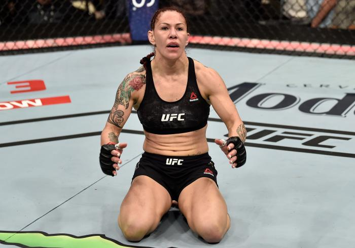 LAS VEGAS, NV - MARCH 03:   Cris Cyborg of Brazil celebrates after her TKO victory over Yana Kunitskaya of Russia in their women's featherweight bout during the UFC 222 event inside T-Mobile Arena on March 3, 2018 in Las Vegas, Nevada. (Photo by Jeff Bottari/Zuffa LLC via Getty Images)