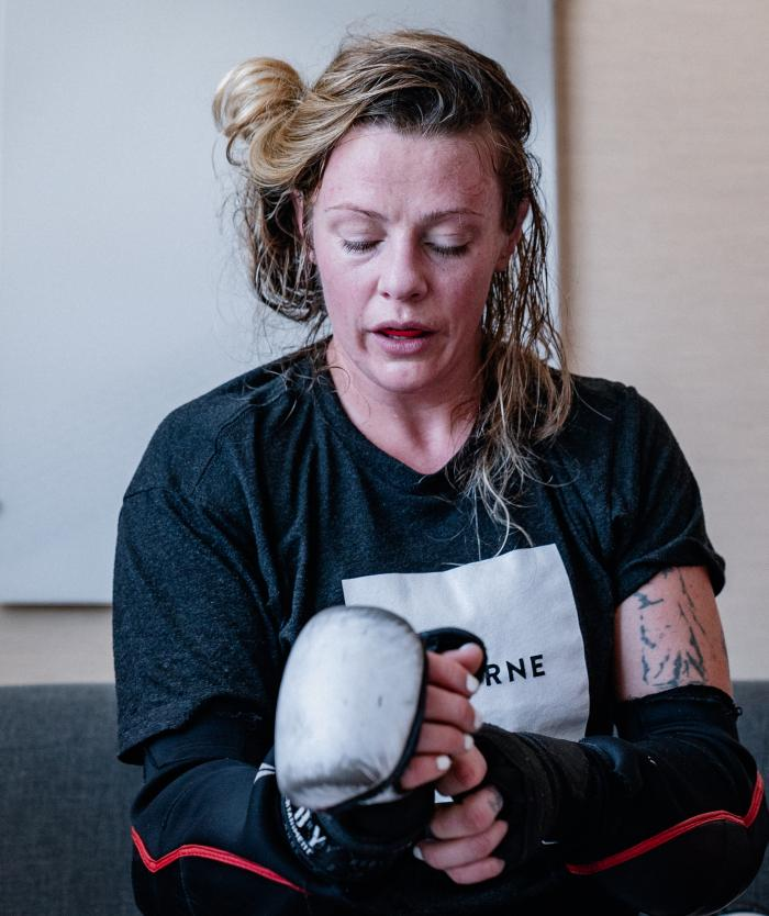 Joanne Calderwood trains for her bout at UFC 257 on January 15, 2021. (Photo by Zac Pacleb)