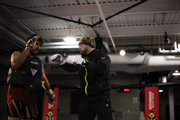 Kelvin Gastelum prepares for his UFC 258 bout against Ian Heinisch on Wednesday, February 10, 2021 at the UFC Performance Institute in Las Vegas, Nevada. (Photo by McKenzie Pavacich)