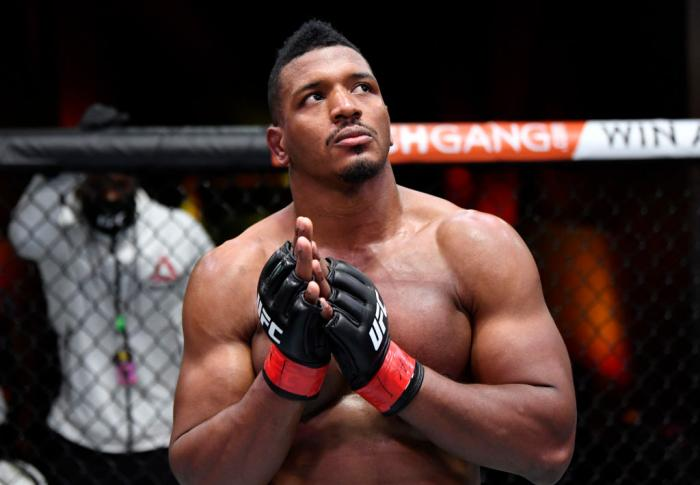 Alonzo Menifield reacts after his submission victory over Fabio Cherant in their light heavyweight fight during the UFC 260 event at UFC APEX on March 27, 2021 in Las Vegas, Nevada. (Photo by Jeff Bottari/Zuffa LLC)