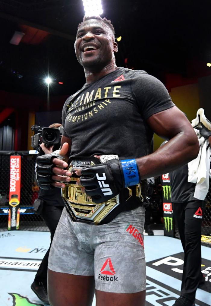 Francis Ngannou of Cameroon reacts after his victory over Stipe Miocic in their UFC heavyweight championship fight during the UFC 260 event at UFC APEX on March 27, 2021 in Las Vegas, Nevada. (Photo by Jeff Bottari/Zuffa LLC)