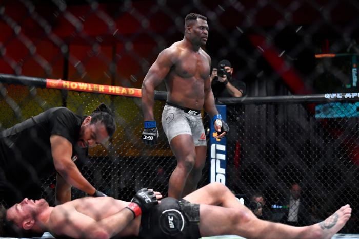 Francis Ngannou of Cameroon reacts after his victory over Stipe Miocic in their UFC heavyweight championship fight during the UFC 260 event at UFC APEX on March 27, 2021 in Las Vegas, Nevada. (Photo by Chris Unger/Zuffa LLC)
